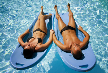 Man and woman in pool