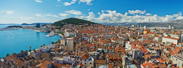Amazing panoramic top view of the historic city Split