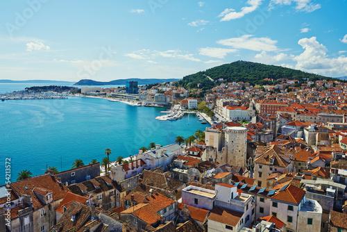 Leinwandbild Motiv Amazing panoramic top view of the historic city Split