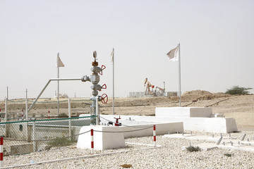 First oil well wellhead in the Persian Gulf located in Bahrain,