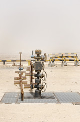 Oil well wellhead in Bahrain oil field