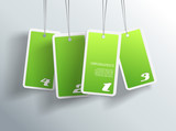 Four hanging green cards. You can place your own text on each ca