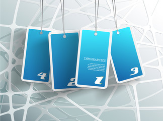 Four hanging blue cards. You can place your own text on each car