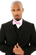 Attractive Black Man in Suit with Bow Tie