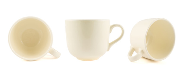 Ceramic cream colored cup isolated