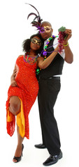 Beautiful Black Couple Dressed for Mardi Gras Party Dancing
