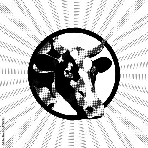 black-and-white label with a picture of a cow