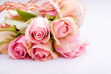 romantic bouquet of pink roses