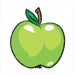 Bleistiftzeichnung: Grüner Apfel