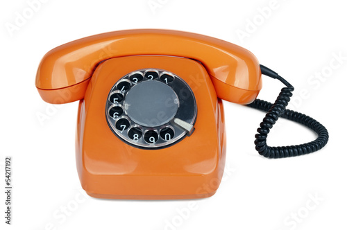 An old orange phone