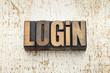 login word in wood type