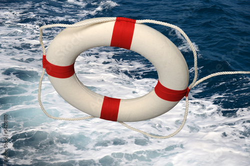 Life Preserver Falling On Turbulent Water