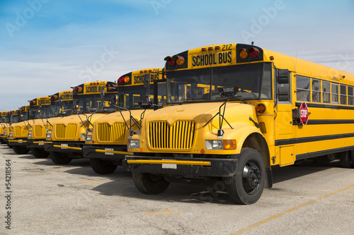 Leinwanddruck Bild school buses
