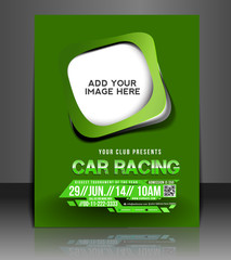 car racing flyer, vector