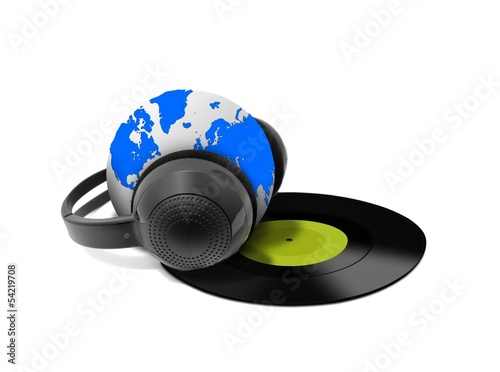 Headphone and globe with vinyl record
