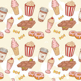 Fastfood sweets delicious hand drawn vector seamless pattern