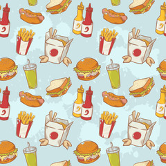 Fastfood delicious hand drawn vector seamless pattern