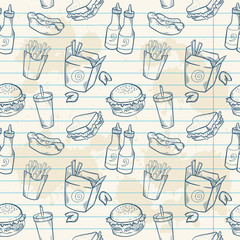 Fastfood delicious hand drawn vector seamless patter