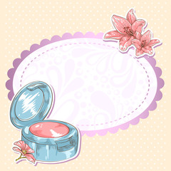 Skincare make-up blusher isolated card