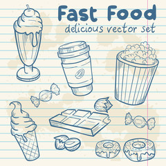 Fastfood delicious hand drawn vector set