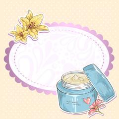 Skincare make-up cream jar isolated card