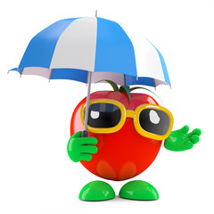 Tomato stays dry under an umbrella