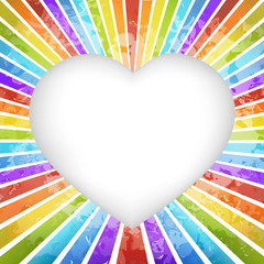 Retro rainbow heart background