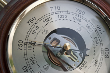 Barometer indicating atmospheric pressure reduction