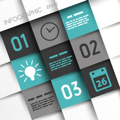 turquoise and grey infographic squares with time icons