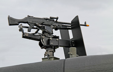 A Machine Gun Mounted on the Top of a Military Vehicle.