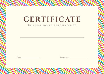 Certificate / Diploma template, background. Colorful Pattern