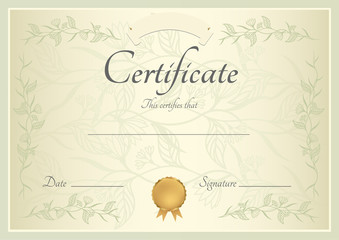 Certificate / Diploma template, background. Pattern (Border)