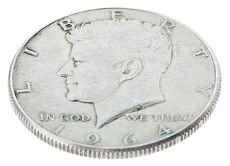 Silver Kennedy Half Dollar - Heads High Angle