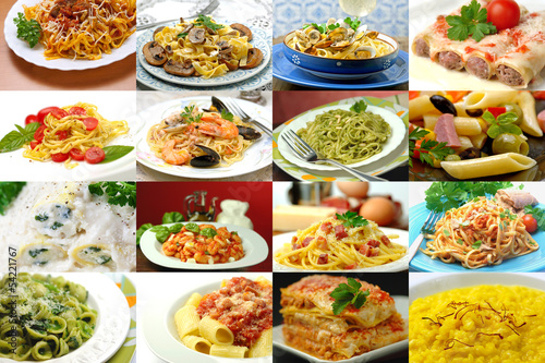 Primi piatti - Italian dishes collage