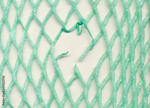 Damaged plastic mesh