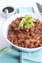 Baked kidney bean with mushrooms