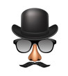 Funny mask made of glasses, mustache, nose and bowler hat