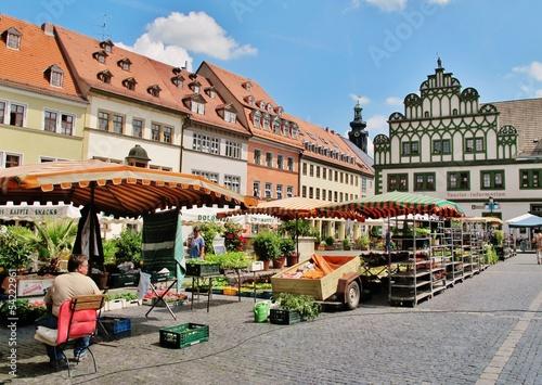 Leinwanddruck Bild Marktplatz in Weimar