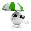Golfball needs an umbrella today on the green