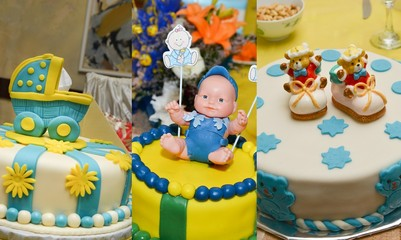 baby boy birthday cakes, collage