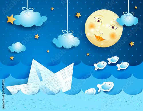 Paper boat, at night