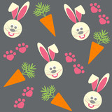 seamless background with bunnies and  carrots