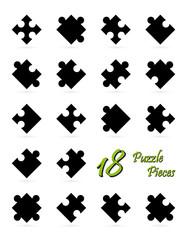 Alle 18 Puzzle Teile - schwarz