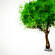 Tree with green leaves, easy all editable