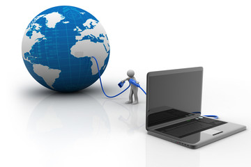 3d person with a laptop and a Earth globe