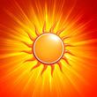 3d yellow sun with glowing orange rays