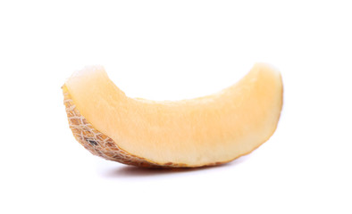 One melon slices on a white background