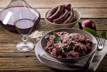 risotto with red wine and sausage