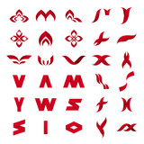 vector collection of abstract red icons