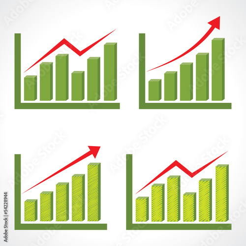 Set of different business graph with rising arrow